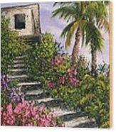 Stairway Garden Wood Print
