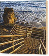 Steps To Blue Ocean And Rocky Beach Wood Print