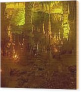 Stalactite Cave In Yellow Wood Print