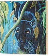 Stalking Black Panther Wood Print