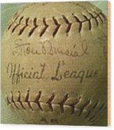 Stan Musial Autograph Baseball Wood Print