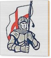 Stand Tall Proud English Happy St George Greeting Card Wood Print by Aloysius Patrimonio