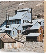 Standard Mill At Bodie Panorama Wood Print by Barbara Snyder