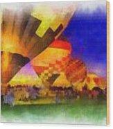 Standbye To Launch Hot Air Balloons Photo Art Wood Print