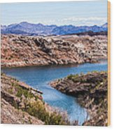 Standing In A Ravine At Lake Mead Wood Print