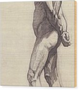 Standing Male Nude Wood Print by Felix Edouard Vallotton