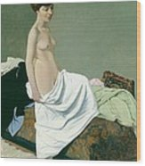 Standing Nude Holding A Gown On Her Knee Wood Print
