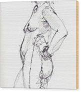 Standing Nude Wood Print
