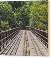 Standing On A Bridge Wood Print