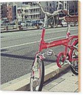 Standing Red Bike Wood Print