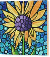 Standing Tall - Sunflower Art By Sharon Cummings Wood Print