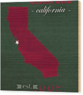 Stanford University Cardinal Stanford California College Town State Map Poster Series No 100 Wood Print