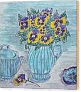Stangl Pottery And Pansies Wood Print