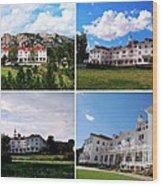 Stanley Hotel In Estes Park Colorado Collage Wood Print