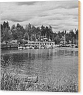 stanley park coal harbour and Vancouver rowing club marina BC Canada Wood Print