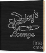 Stanley's Lounge In White Neon Wood Print