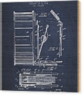 Stanton Bass Drum Patent Drawing From 1904 - Navy Blue Wood Print