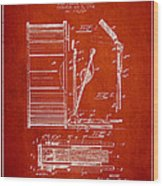 Stanton Bass Drum Patent Drawing From 1904 - Red Wood Print