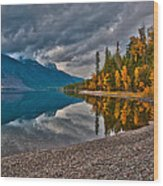 Stanton Mountain With Mount Vaught And Mcpartland Reflected In Lake Mcdonald Wood Print