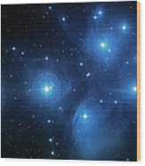 Star Cluster Pleiades Seven Sisters Wood Print by Jennifer Rondinelli Reilly - Fine Art Photography