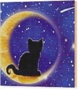 Star Gazing Cat Wood Print