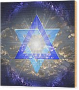 Star Of David And The Milky Way Wood Print