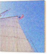 Star Of India. Flag And Sail Wood Print