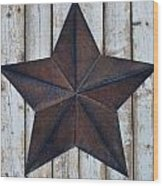 Star On Barn Wall Wood Print