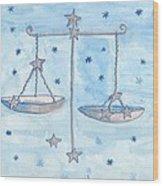 Star Sign Libra Wood Print