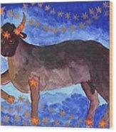 Star Sign Taurus Wood Print