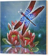 Star Spangled Dragonfly Wood Print