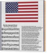 Star Splangled Banner Music  Lyrics And Flag Wood Print
