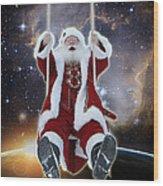Santa's Star Swing Wood Print