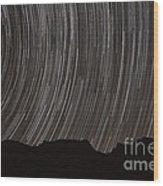 Star Trails Above A Valley Wood Print by Amin Jamshidi