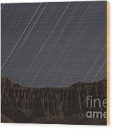 Star Trails Above Martians Valley Wood Print by Amin Jamshidi