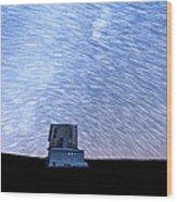 Star Trails Above Subaru Telescope Wood Print