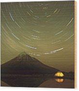 Star Trails Around South Celestial Pole Wood Print
