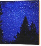 Star Trails In Night Sky Wood Print