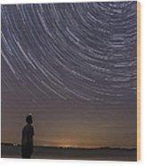Star Trails Night Sky Landscape Vermont Lake Champlain Wood Print
