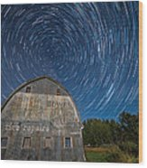 Star Trails Over Barn Wood Print