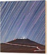 Star Trails Over Cerro Paranal Telescopes Wood Print