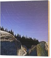 Star Trails Over Rocks In Saguenay-st Wood Print