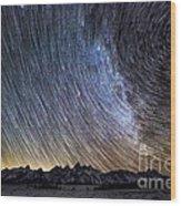 Star Trails Over Teton Mountains Wood Print