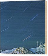 Star Trails Over The Chugach Mountains Wood Print