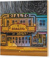 Star Trails Over The Rialto Wood Print