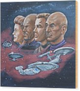 Star Trek Tribute Captains Wood Print