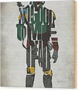 Star Wars Inspired Boba Fett Typography Artwork Wood Print