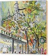 Starbucks Cafe In Budapest Wood Print