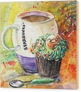 Starbucks Mug And Easter Cupcake Wood Print