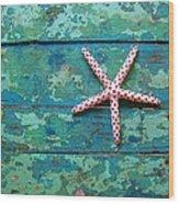 Seashore Peeling Paint - Starfish And Turquoise Wood Print